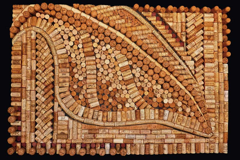 Wine cork art by Wine Cork Designs