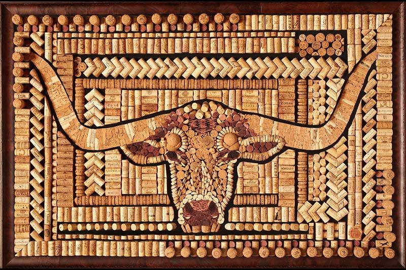 Longhorn cork art