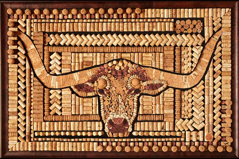 Wine Cork Wall Art longhorn-cork-art1
